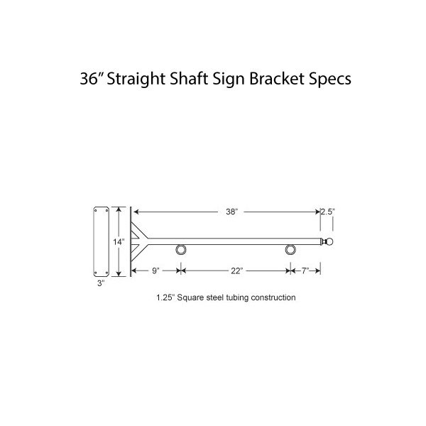 "36"" Straight Shaft Bracket Specs"