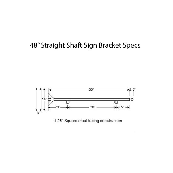 "48"" Straight Shaft Bracket Specs"