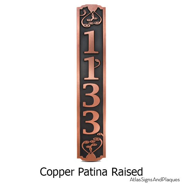 Swirls On the Vertical Address Plaque - Copper