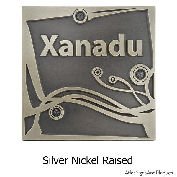 Swirls on a Square Wedding Plaque - Silver Nickel