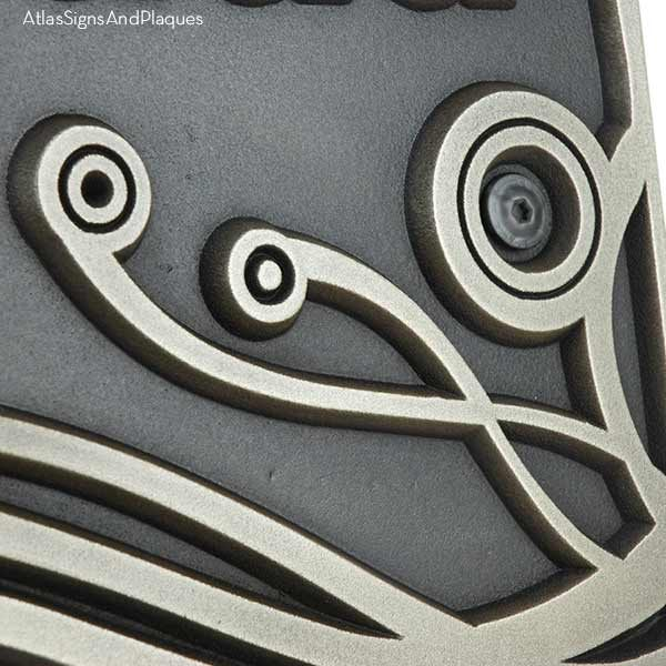 Swirls on a Square Wedding Plaque - Silver Nickel Detail