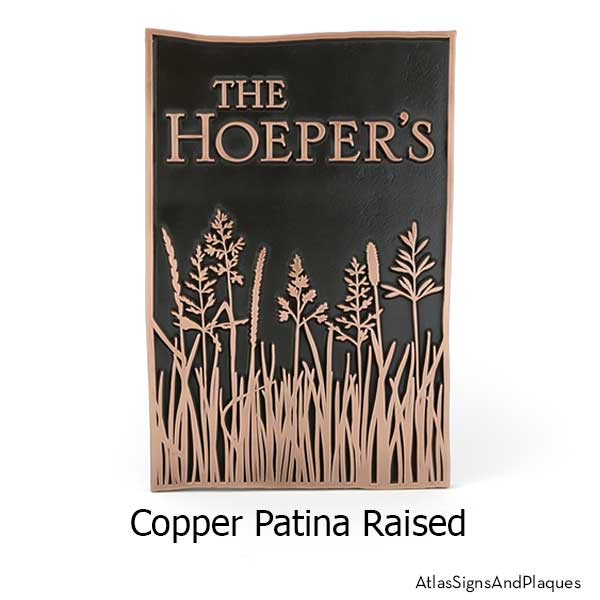 Tall Grass Prairie Sign shown in Copper