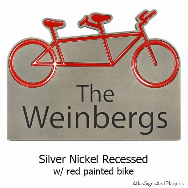 Tandem Bike Plaque - Silver Nickel with Optional Painted Bike