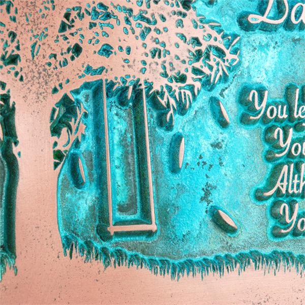 Tree Swing Sign - Copper Verdi Detail