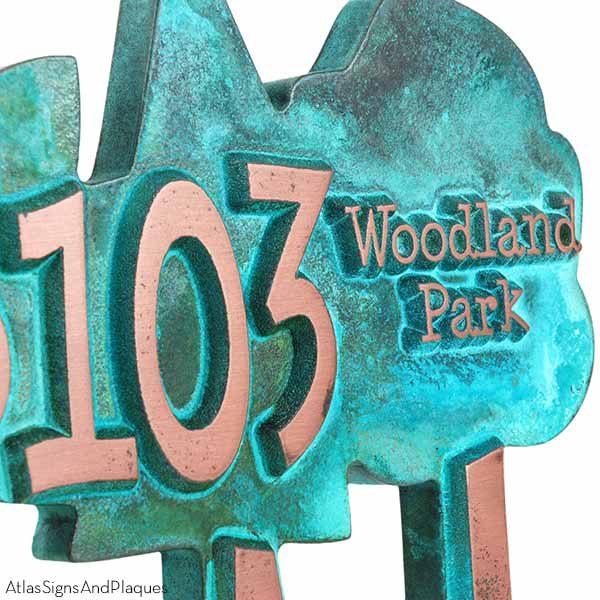 Trio of Trees Address Plaque - Copper Verdi Detail