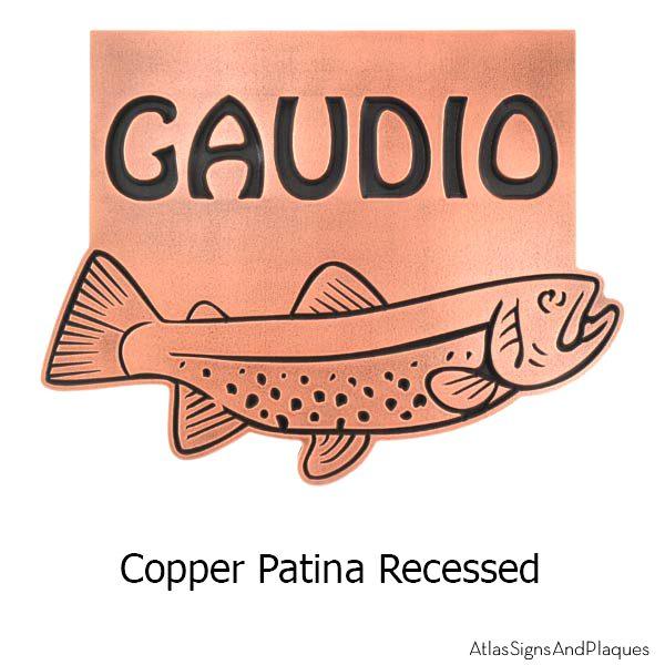 Trout Address Plaque - Copper