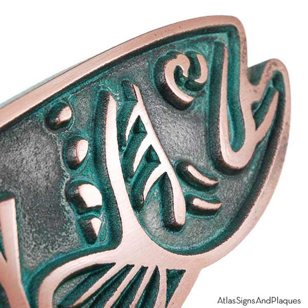 Trout Swimming Upstream - Bronze Verdi Detail