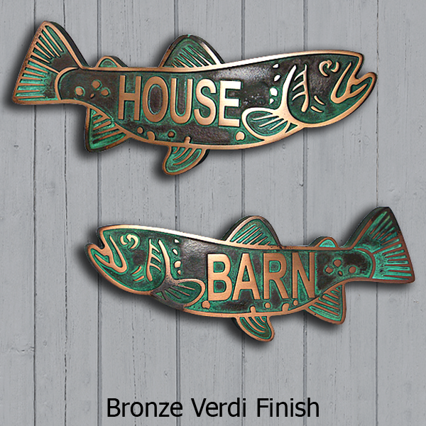 Trout Swimming Upstream - Bronze Verdi