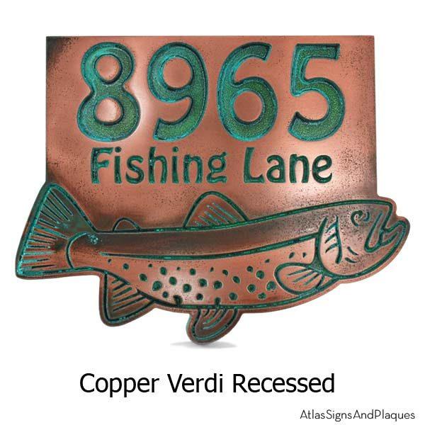 Trout Address Plaque - Copper Verdi