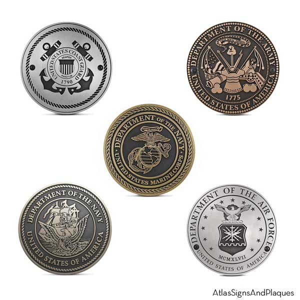 Military Service Plaques Set Of 5 Branches Atlas Signs