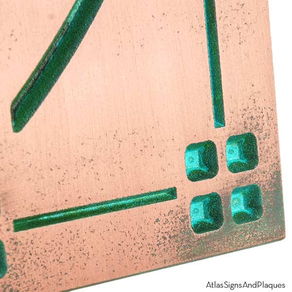 Vertical American Craftsman Home Numbers - Copper Verdi Detail