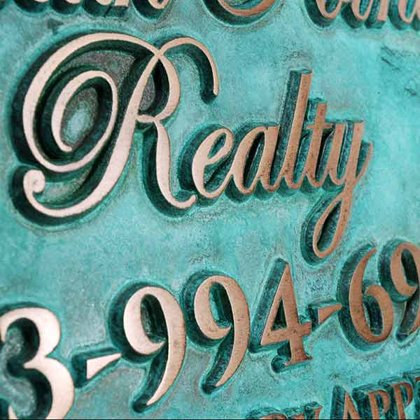 Victorian Style Business Sign - Bronze Verdi Detail