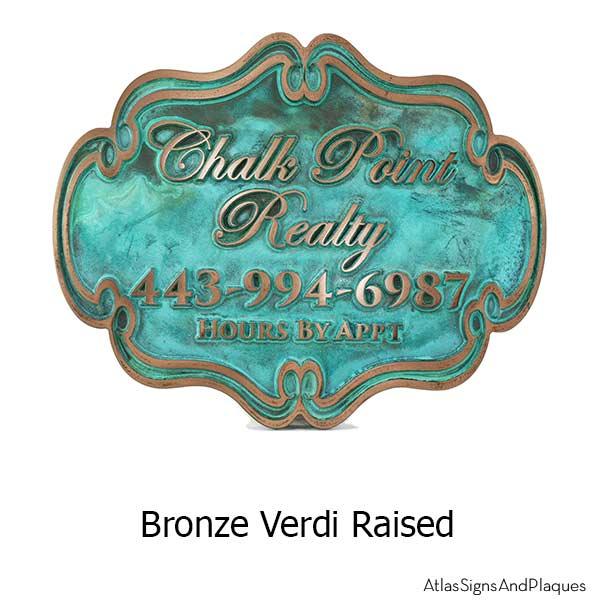 Victorian Style Business Sign - Bronze Verdi
