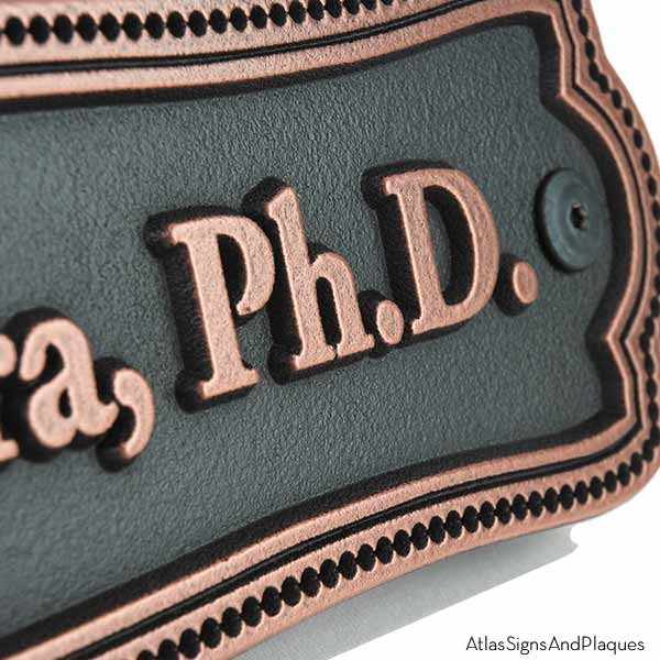 Victorian Name Plaque - Copper Detail Shown with Optional T30 Screws