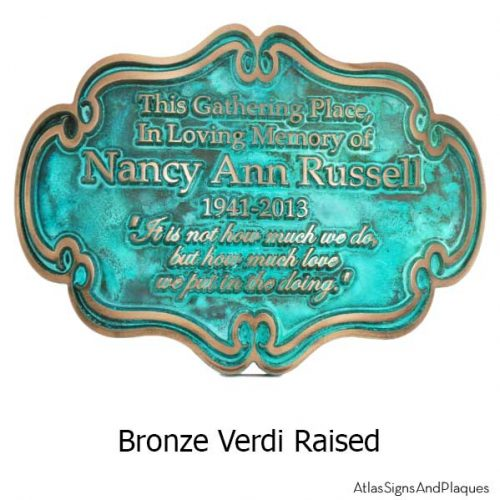 Victorian Style Memorial Plaque - Bronze Verdi