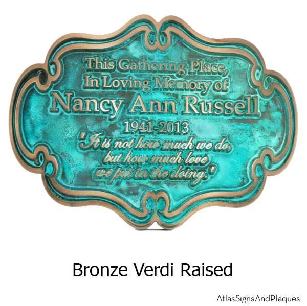 Victorian Style Memorial Plaque - Bronze Verdi
