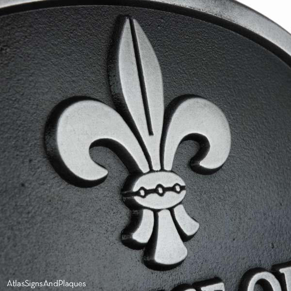 Wedding Fleur De Lis Plaque - Pewter Detail
