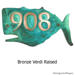 Whale House Numbers Plaque - Bronze Verdi Show with Optional T30 Screws
