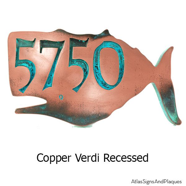 Whale House Numbers Plaque - Copper Verdi