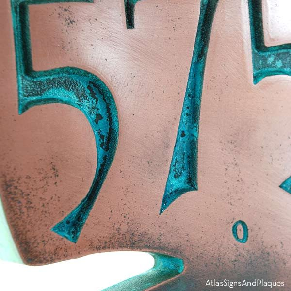 Whale House Numbers Plaque - Copper Verdi Detail