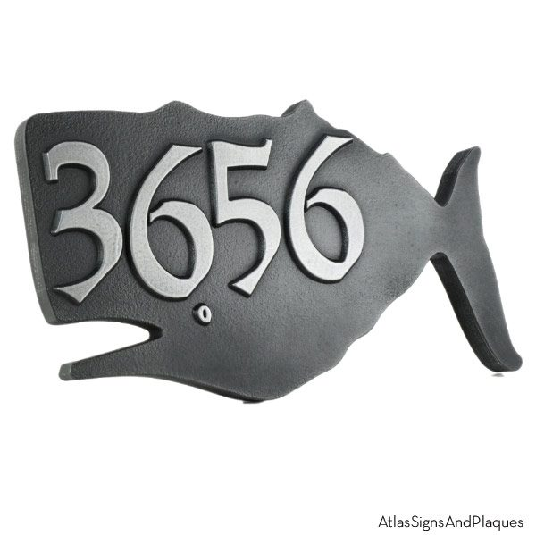 Whale House Numbers Plaque - Pewter