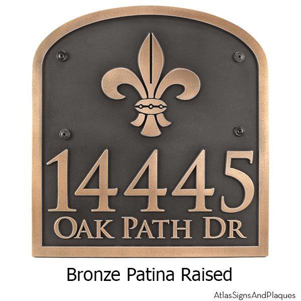 Fleur de Lis Address Plaque - Bronze Shown with Optional T30 Screws
