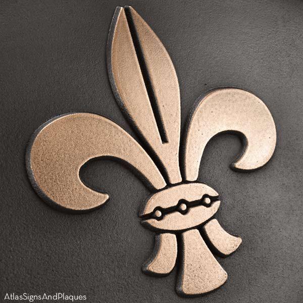 Fleur de Lis Address Plaque - Bronze Detail