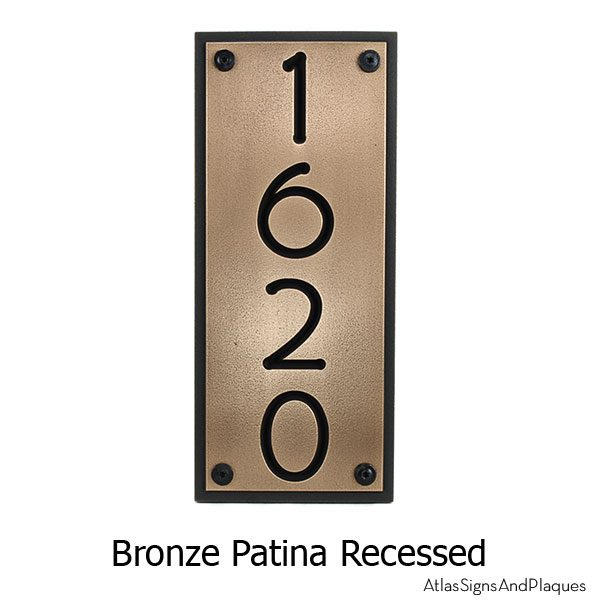 Frank Lloyd Vertical Home Numbers - Bronze Shown with T30 Screws