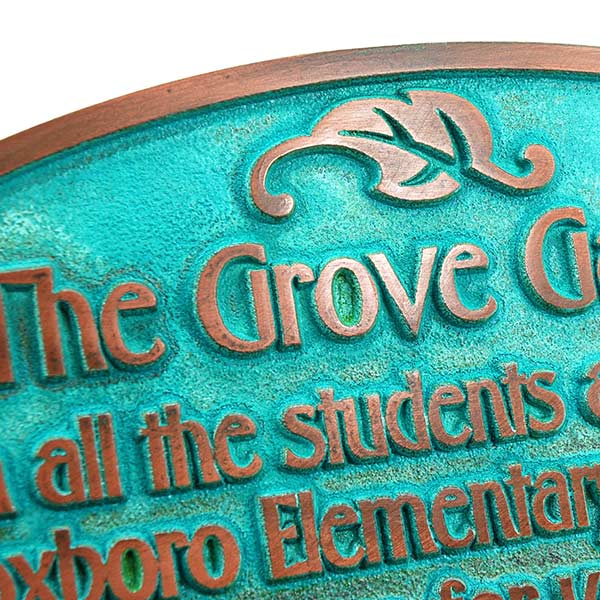 Garden Dedication Plaque - Copper Verdi Detail