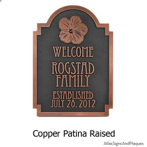 Hawaiian Hibiscus Historic Plaque - Copper