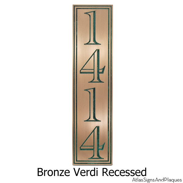 Hesperis Vertical Address Plaque - Bronze Verdi
