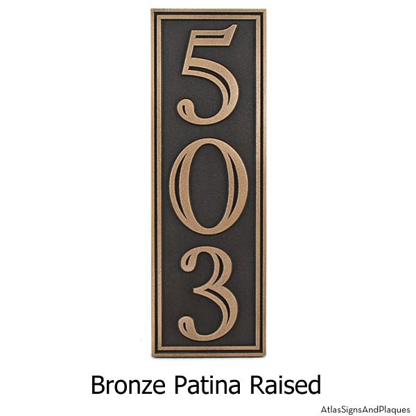 Hesperis Vertical Address Plaque - Bronze
