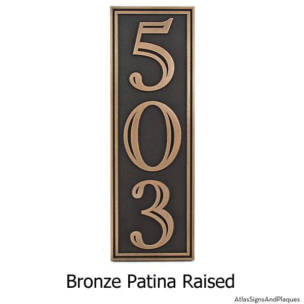 Hesperis Vertical Address Plaque - Bronze