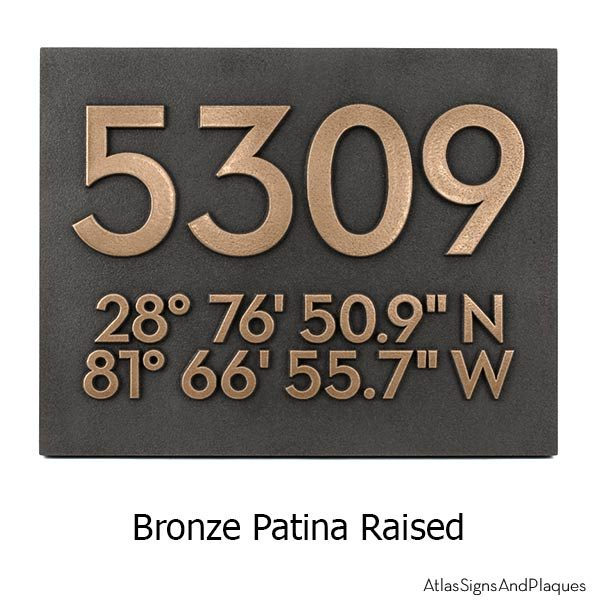 Latitude Longitude Address Number Plaque - Bronze