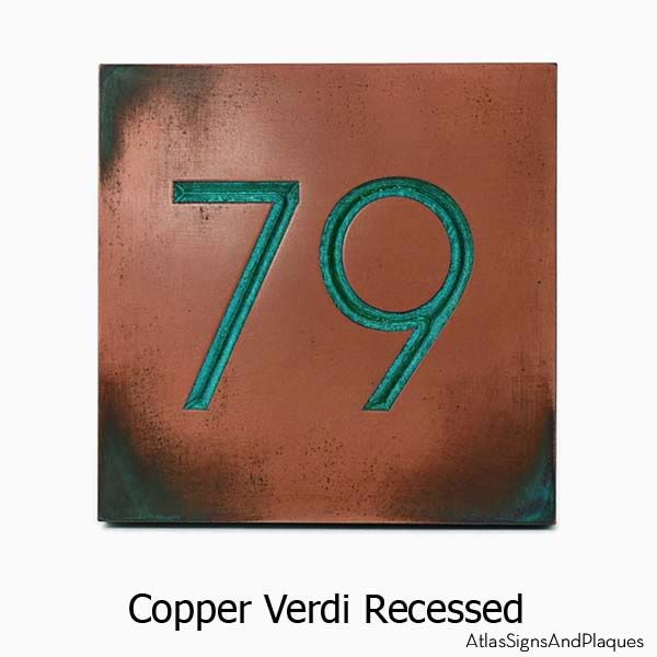 Modern Advantage Home Numbers No Border - Copper Verdi