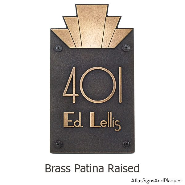 Moderne Art Deco Address Plaque Br Shown With Optional T30 S