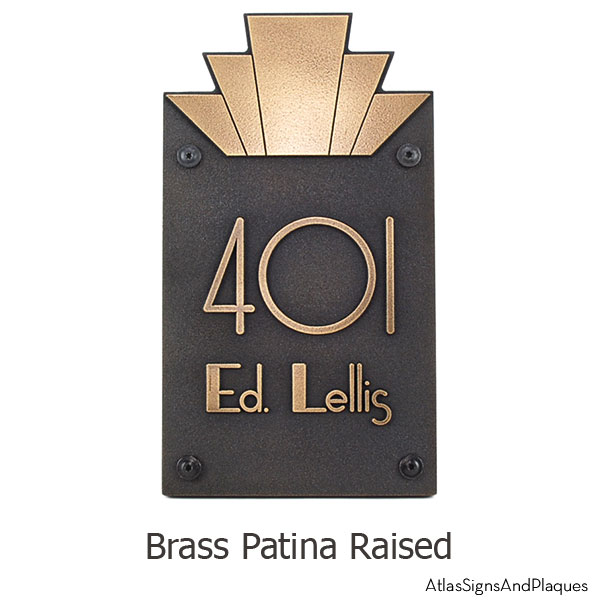 Moderne Art Deco Address Plaque - Brass Shown With Optional T30 Screws