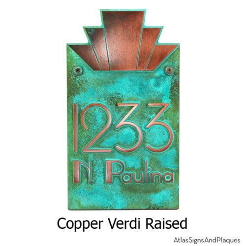 Moderne Art Deco Address Plaque - Copper Verdi Shown With Optional T30 Screws