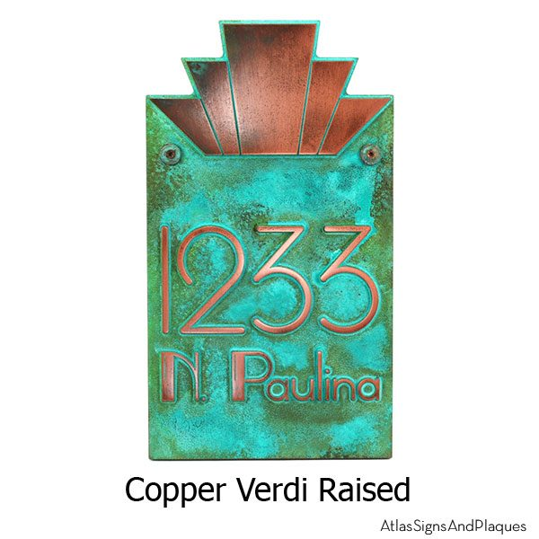 Moderne Art Deco Address Plaque - Copper Verdi Shown With Optional T30 Screws