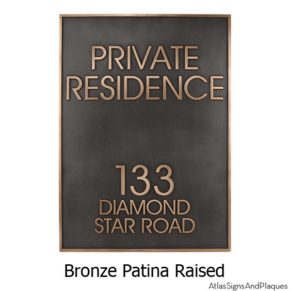 Modern Estate Address Sign - Bronze