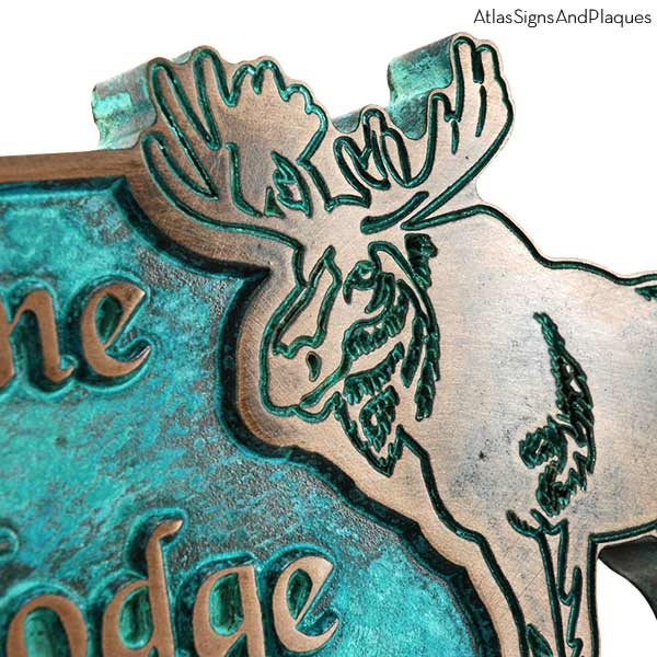 Moose Lodge Welcome Plaque - Bronze Verdi Detail