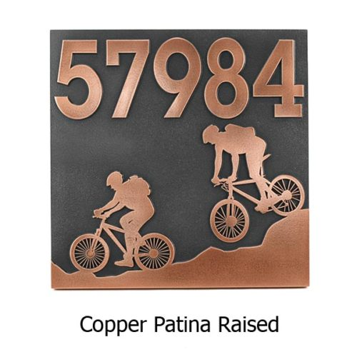 Mountain Bike Address Plaque - Copper
