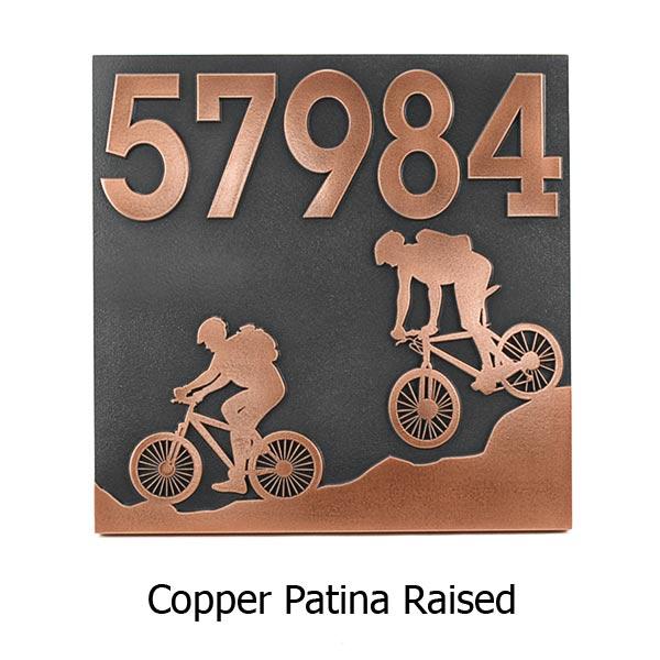 Mountain Bike Address Plaque - Copper