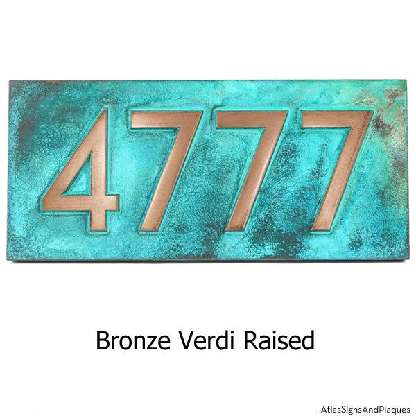 Neutraface Address Plaque - Bronze Verdi