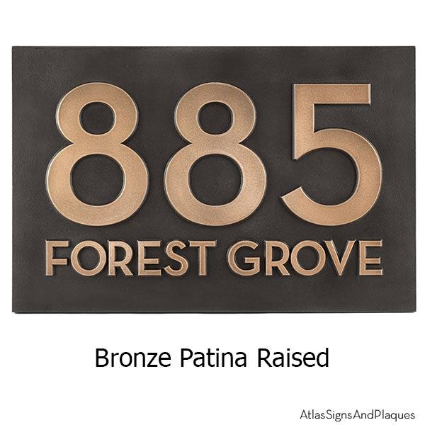 Neutraface Street Address Plaque No Border - Bronze