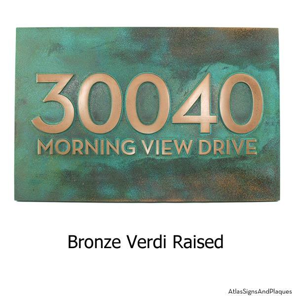 Neutraface Street Address Plaque No Border - Bronze Verdi