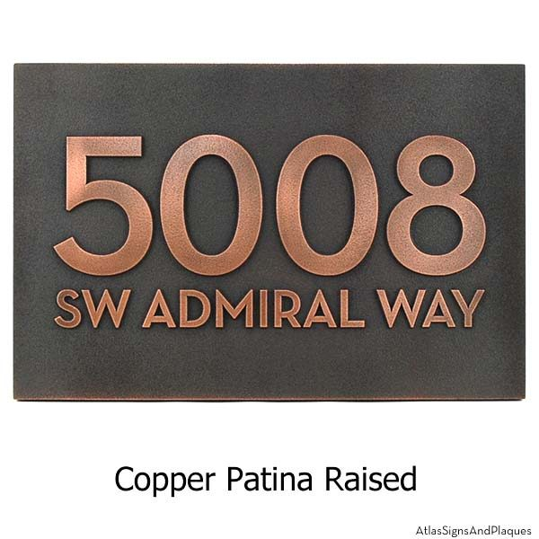 Neutraface Street Address Plaque No Border - Copper