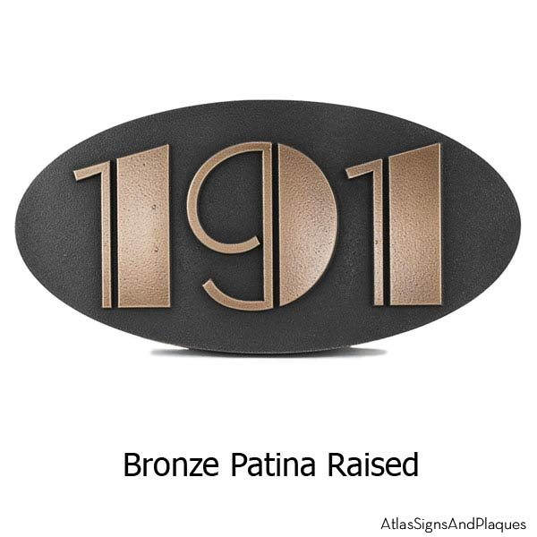 Oval Art Deco Address Plaque - Bronze