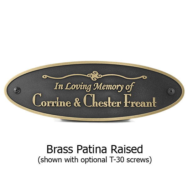 Oval Memorial Plaque - Brass Shown with Optional T30 Screws