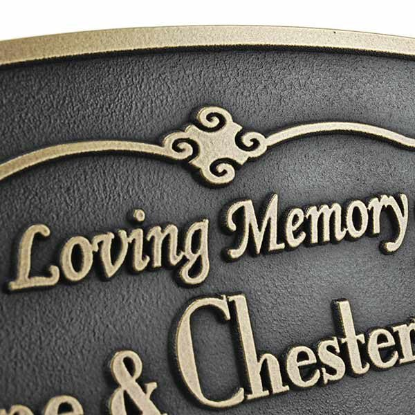 Oval Memorial Plaque - Brass Detail